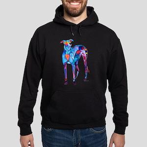 Greyhound with Heart Hoodie (dark)