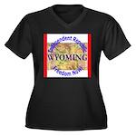 Wyoming-3 Women's Plus Size V-Neck Dark T-Shirt
