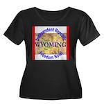 Wyoming-3 Women's Plus Size Scoop Neck Dark T-Shir
