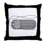 Yorkshire Terrier Silver Throw Pillow