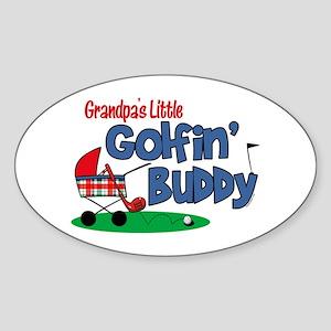 Grandpa's Little Golfin' Buddy Oval Sticker