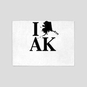 I Heart Alaska graphic heart love d 5'x7'Area Rug