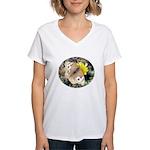 Butterfly on Flower Women's V-Neck T-Shirt