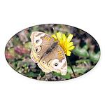 Butterfly on Flower Oval Sticker (50 pk)