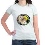 Butterfly on Flower Jr. Ringer T-Shirt