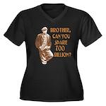 Hard Times Women's Plus Size V-Neck Dark T-Shirt
