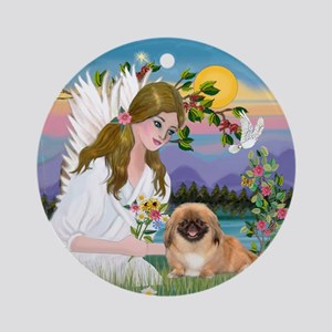 Angel and Pekingese Ornament (Round)