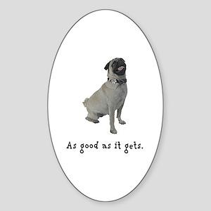Good Pug Oval Sticker