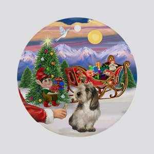 Santa's Treat for his PBGV Ornament (Round)