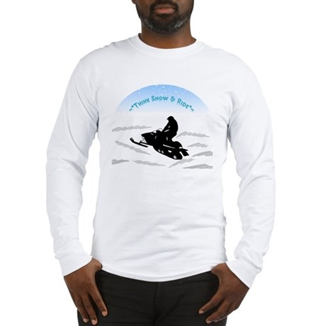 Long Sleeve Think Snow & Ride Snowmobiling T-Shirt