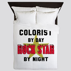 Colorist By Day, Rock Star By night Queen Duvet