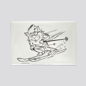 Snow Ski skier cat Rectangle Magnet