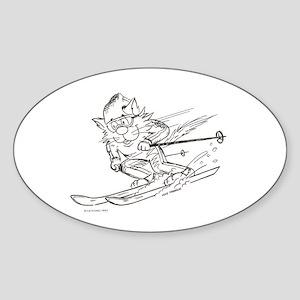 Snow Ski skier cat Oval Sticker