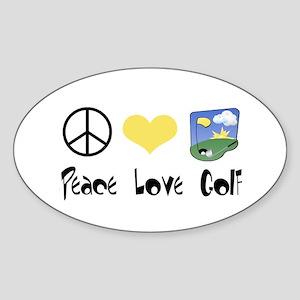 Peace Love Golf Oval Sticker