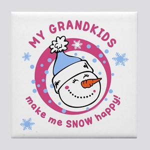 Snow Happy Grandkids Tile Coaster