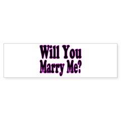 Will You Marry Me? Hers Bumper Bumper Sticker