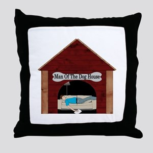 Dog House Man Throw Pillow