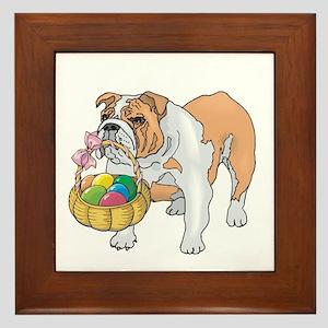 Bulldog Easter Framed Tile