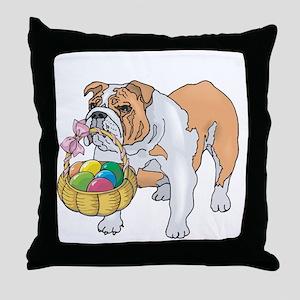 Bulldog Easter Throw Pillow