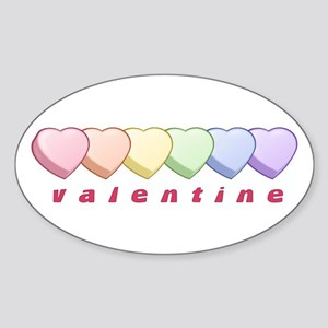 Pride Candy Heart Valentine Oval Sticker