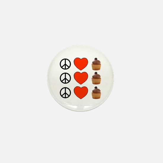 Peace Love & Cupcakes Mini Button