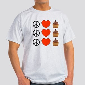 Peace Love & Cupcakes Light T-Shirt