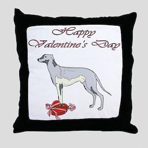 Valentine's Day Greyhound Throw Pillow