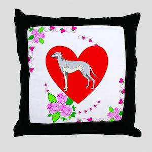 Greyhound Valentines Day Throw Pillow