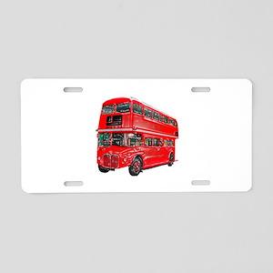 Red London Bus Aluminum License Plate