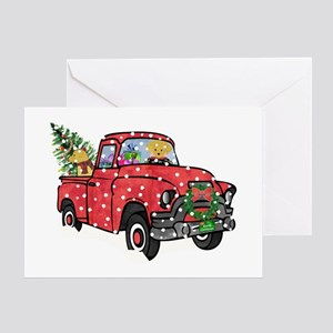 Chevy trucks vintage greeting cards cafepress yellow lab christmas red truck greeting card m4hsunfo