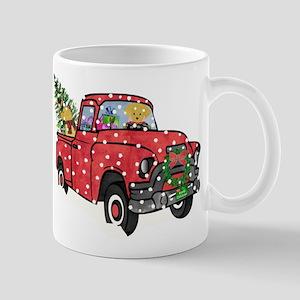 Yellow Lab Christmas Red Truck 11 oz Ceramic Mug
