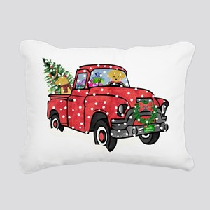 Yellow Lab Christmas Red Rectangular Canvas Pillow