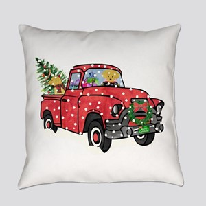 Yellow Lab Christmas Red Truck Everyday Pillow