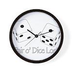 Pair O' Dice Lost Wall Clock