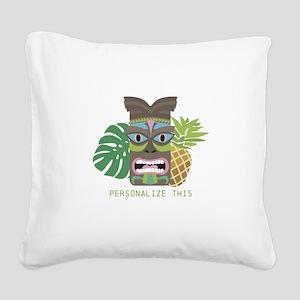 Tiki Tribal Mask Personalized Square Canvas Pillow