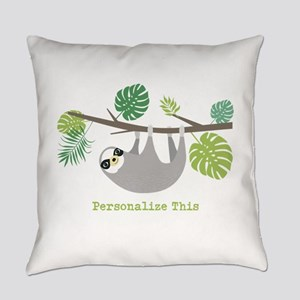 Cute Hanging Sloth Personalized Everyday Pillow