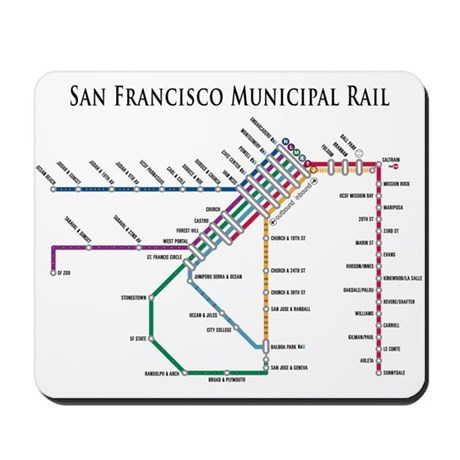 SF MUNI Map (with text) Mousepad by walnotes
