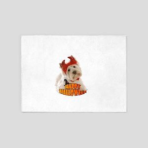 Happy Halloween with White Dog 5'x7'Area Rug