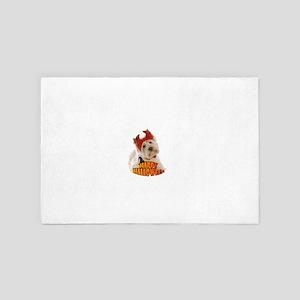Happy Halloween with White Dog 4' x 6' Rug