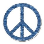 Blue Peace Sign Round Car Magnet