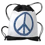 Blue Peace Sign Drawstring Bag