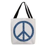 Blue Peace Sign Polyester Tote Bag