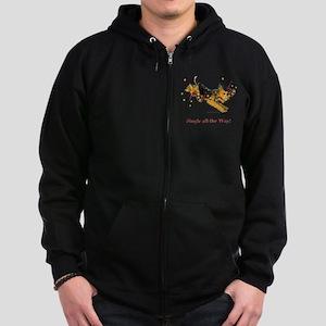 Welsh Terrier Holiday Dog! Zip Hoodie (dark)