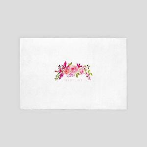 Pink Floral Monogram Name 4' x 6' Rug