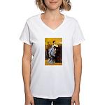 Lady in Blue Women's V-Neck T-Shirt