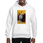 Lady in Blue Hooded Sweatshirt