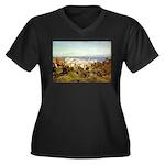 Genoa Women's Plus Size V-Neck Dark T-Shirt