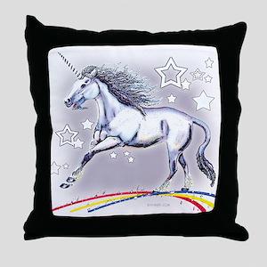 Unicorn and Stars Throw Pillow
