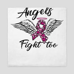 Breast Cancer Awareness Art For Warrio Queen Duvet