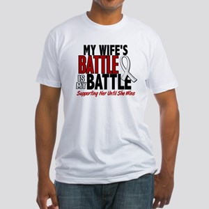 My Battle Too 1 PEARL WHITE (Wife) Fitted T-Shirt
